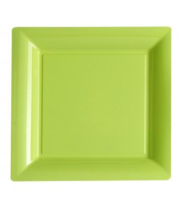 Assiette plastique carrée 29 cm anis