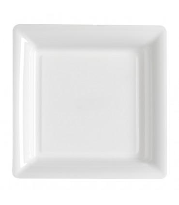 Assiette plastique carrée 29 cm blanc