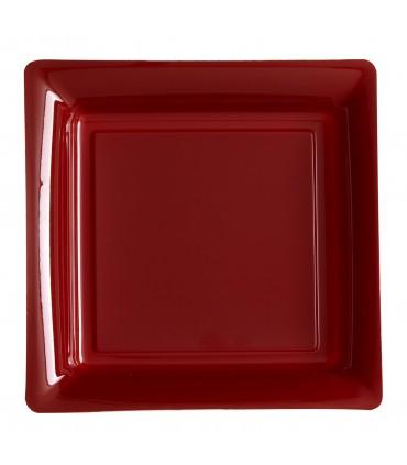 Assiette plastique carrée 29 cm bordeaux