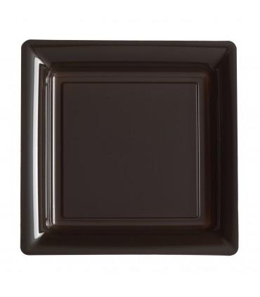Assiette plastique carrée 29 cm chocolatanis