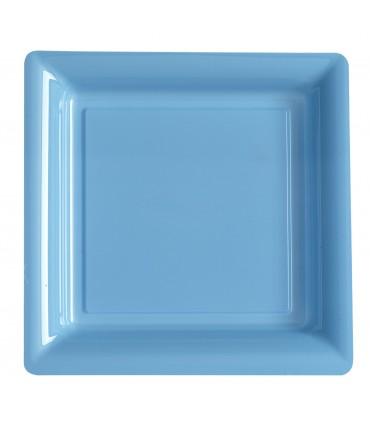 Assiette plastique carrée 29 cm bleu ciel