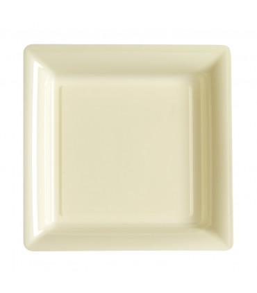 Assiette plastique carrée 29 cm ivoire