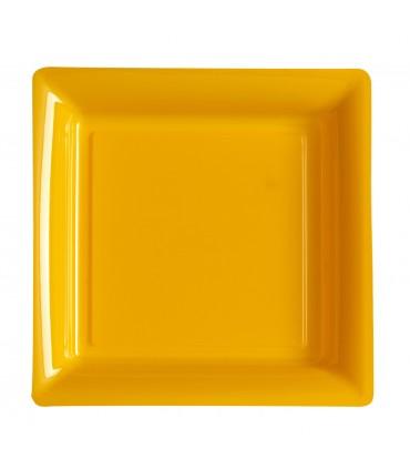 Assiette plastique carrée 29 cm mandarine