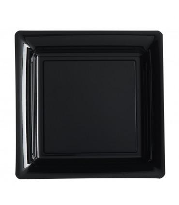 Assiette plastique carrée 29 cm noir