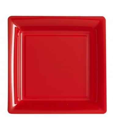 Assiette plastique carrée 29 cm rouge