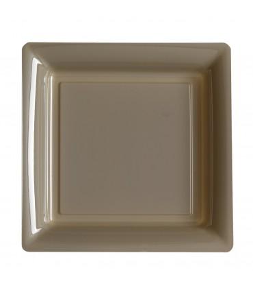 Assiette plastique carrée 29 cm taupe