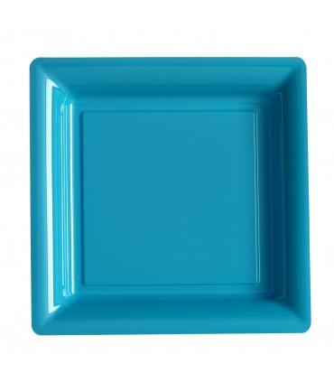 Assiette plastique carrée 29 cm turquoise