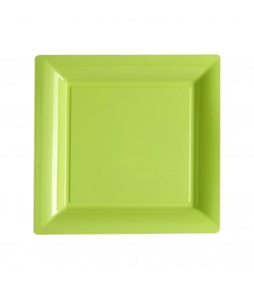 Assiette plastique carrée 23 cm repas anis
