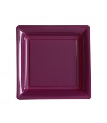 Assiette plastique carrée 23 cm repas aubergine