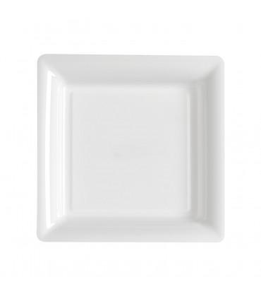 Assiette plastique carrée 23 cm repas blanc