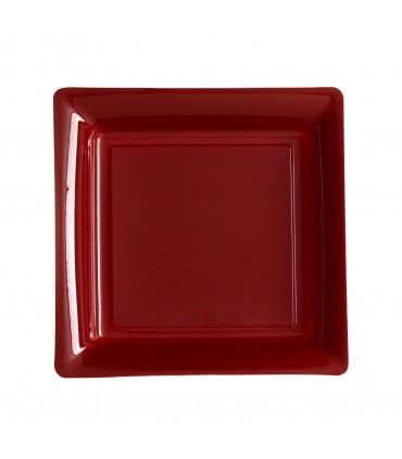 Assiette plastique carrée 23 cm repas bordeaux