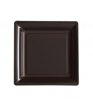 Assiette plastique carrée 23 cm repas chocolat