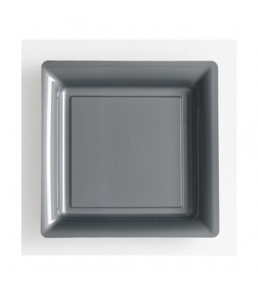 Assiette plastique carrée 23 cm repas gris