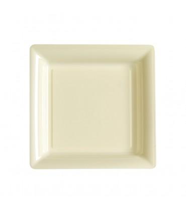 Assiette plastique carrée 23 cm repas ivoire