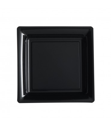 Assiette plastique carrée 23 cm repas noir