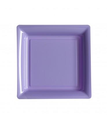 Assiette plastique carrée 23 cm repas parme
