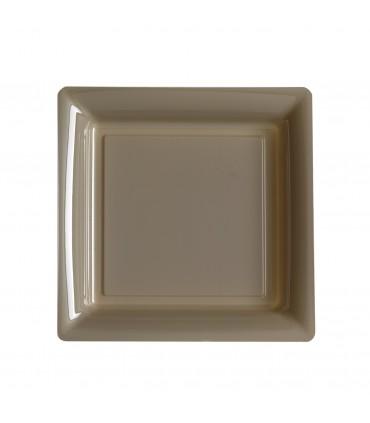 Assiette plastique carrée 23 cm repas taupe