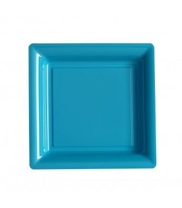 Assiette plastique carrée 23 cm repas turquoise