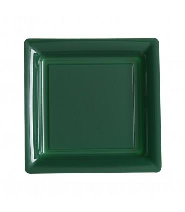 Assiette plastique carrée 23 cm repas vert