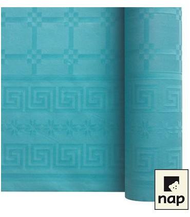 Nappe papier damassé turquoise