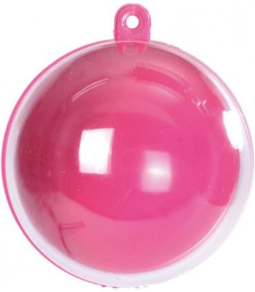 Boule transparente fuchsia