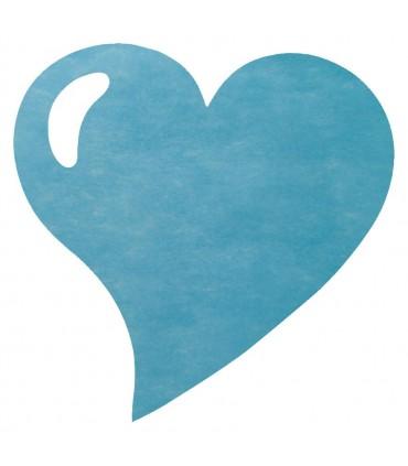 Set de table intissée coeur turquoise