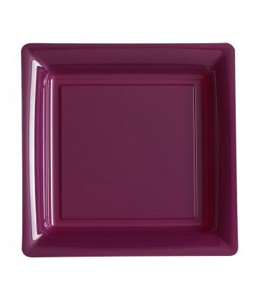 Assiette plastique carrée 29 cm aubergine