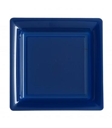 Assiette plastique carrée 29 cm bleu
