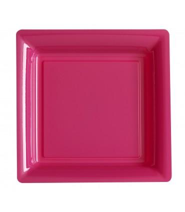 Assiette plastique carrée 29 cm fuchsia