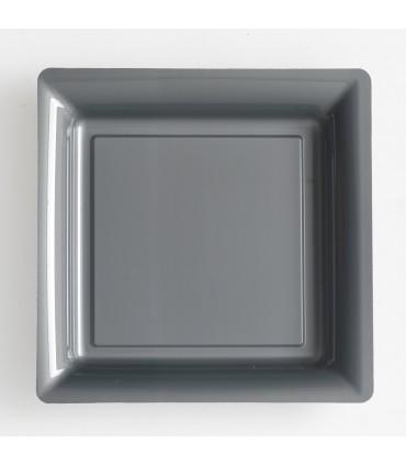 Assiette plastique carrée 29 cm gris