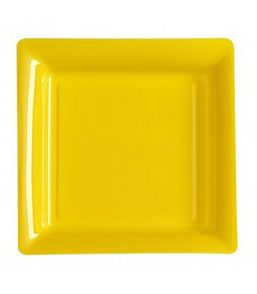 Assiette plastique carrée 29 cm jaune