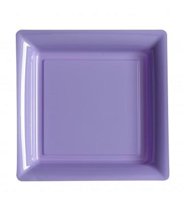 Assiette plastique carrée 29 cm parme