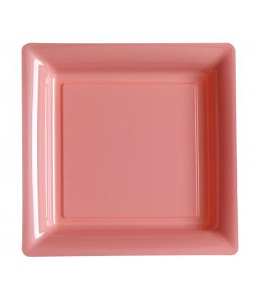 Assiette plastique carrée 29 cm rose