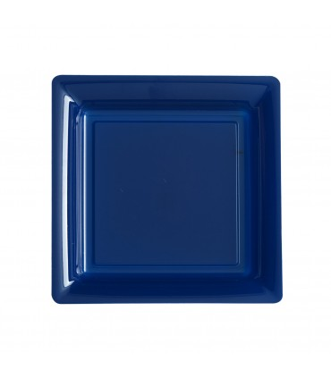 Assiette plastique carrée 23 cm repas bleu