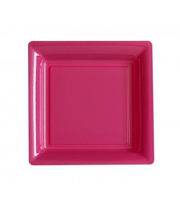 Assiette plastique carrée 23 cm repas fuchsia