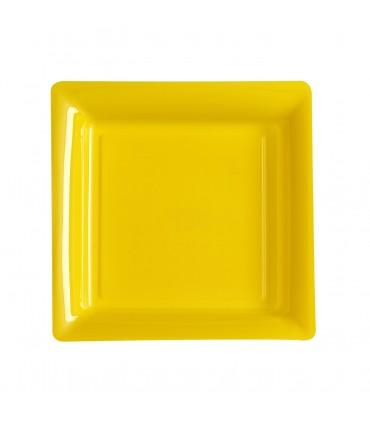 Assiette plastique carrée 23 cm repas jaune