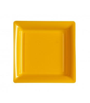 Assiette plastique carrée 23 cm repas mandarine