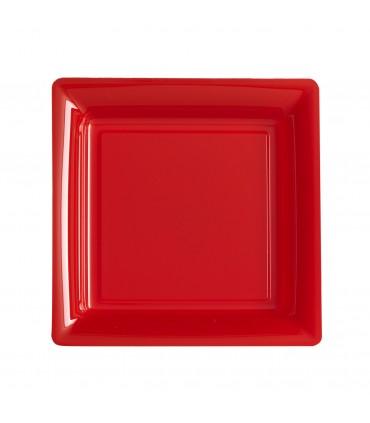 Assiette plastique carrée 23 cm repas rouge
