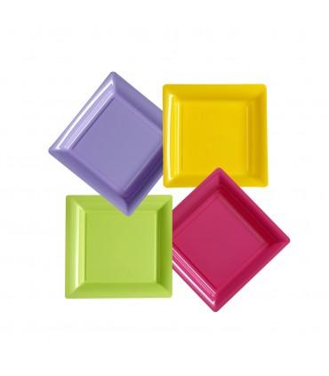 Assiette carrée repas plastique couleur