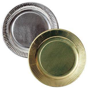 Assiette argent ou or dessert en carton