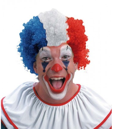 Perruque clown tricolore