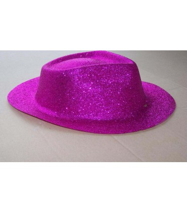 Chapeau capone paillette fuchsia
