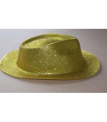 Chapeau capone paillette or