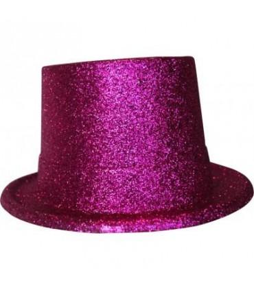 Chapeau haut de forme paillette fuchsia