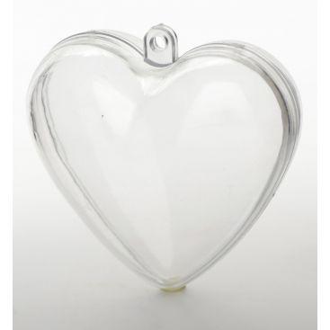 Coeur transparent 8 cm lot de 5