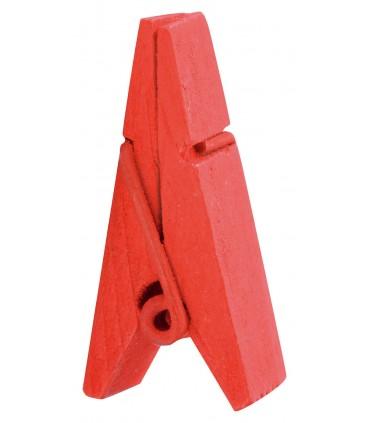 Pinces à linge porte-nom bois rouge