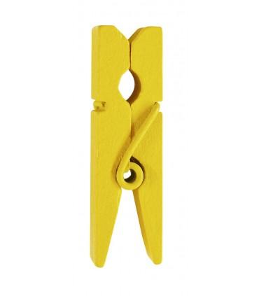 Pinces à linge porte-nom bois jaune