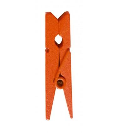 Pinces à linge porte-nom bois orange
