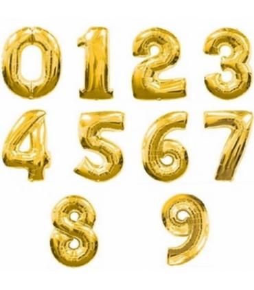 Ballon alu chiffre or