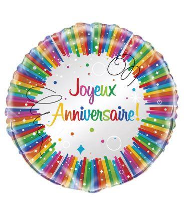Ballon mylar rond joyeux anniversaire